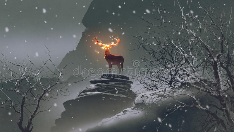 The deer with fire horns in winter. The deer with its fire horns standing on rocks in winter landscape, digital art style, illustration painting vector illustration