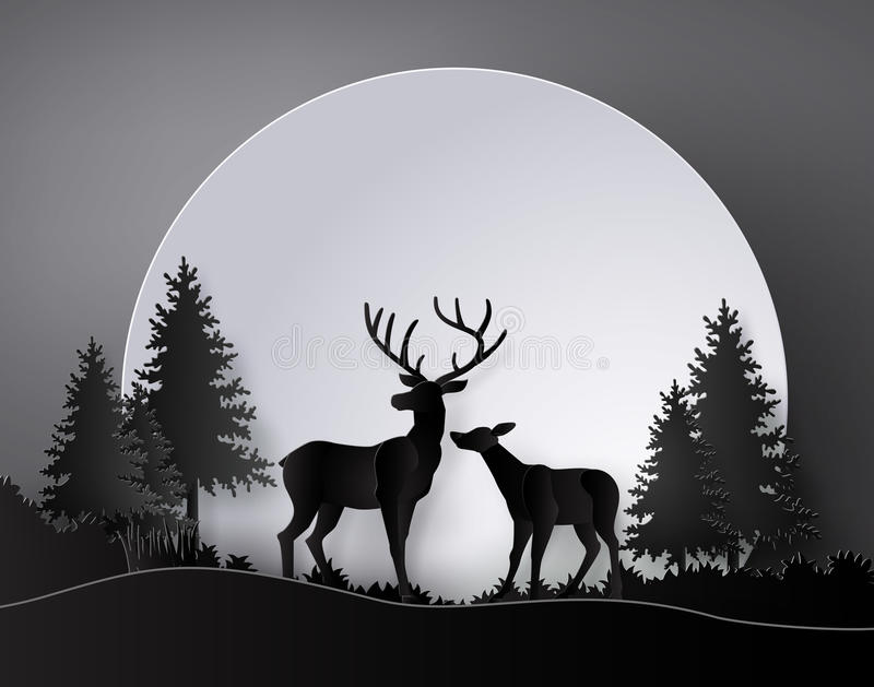 Deer in forest with full moon. stock illustration