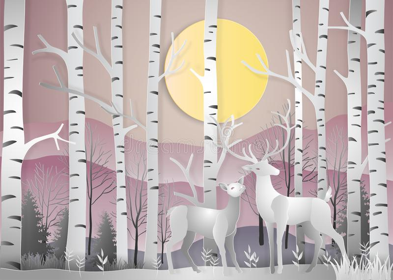 Deer in forest landscape at dawn with snowflakes and mountains b. Ackground. paper art and digital craft style. Vector illustration royalty free illustration