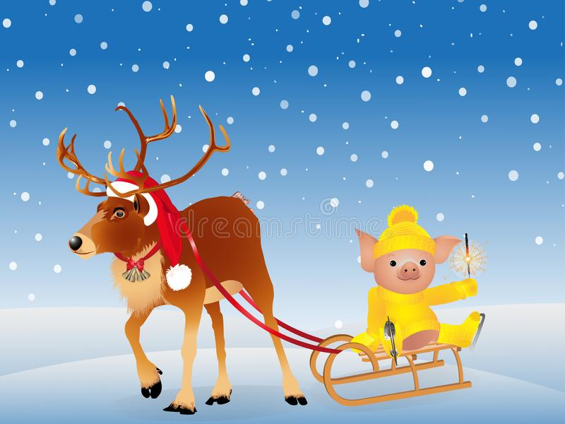 Deer in a funny Santa`s red cap. Pig in sweater on skates. 2019 Chinese New Year of the Pig. Isolated on a white background. Vecto stock illustration