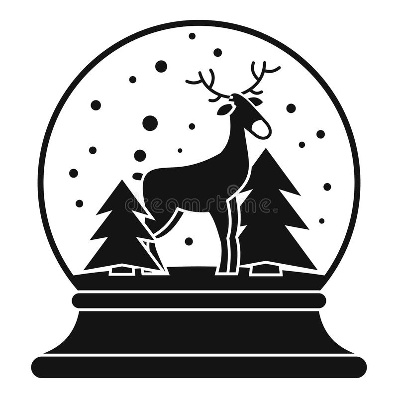 Deer glass snow ball icon, simple style royalty free illustration