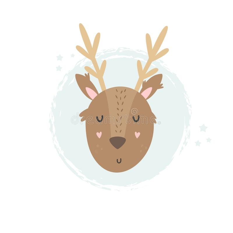 Deer hand drawn face. Vector character. royalty free illustration