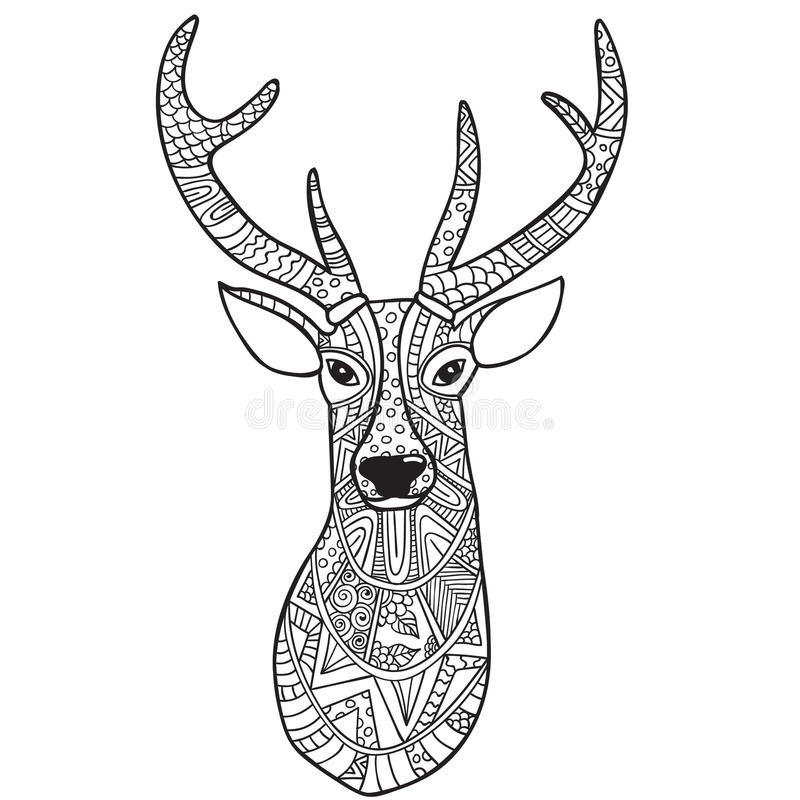 deer hand drawn reindeer ethnic doodle pattern coloring page zendala relaxation meditation adults vector