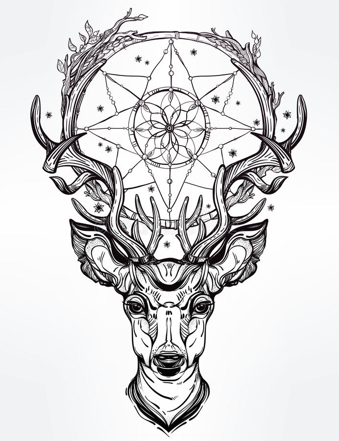 deer head dream catcher hand drawn romantic beautiful drawing vector illustration ethnic design tattoo element 65135086