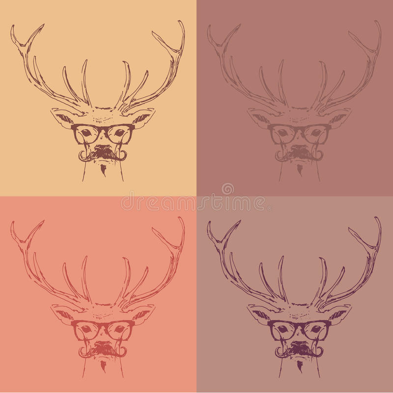 Deer head, hipster style with glasses and mustache, engraving vintage illustration. Hand drawn royalty free illustration