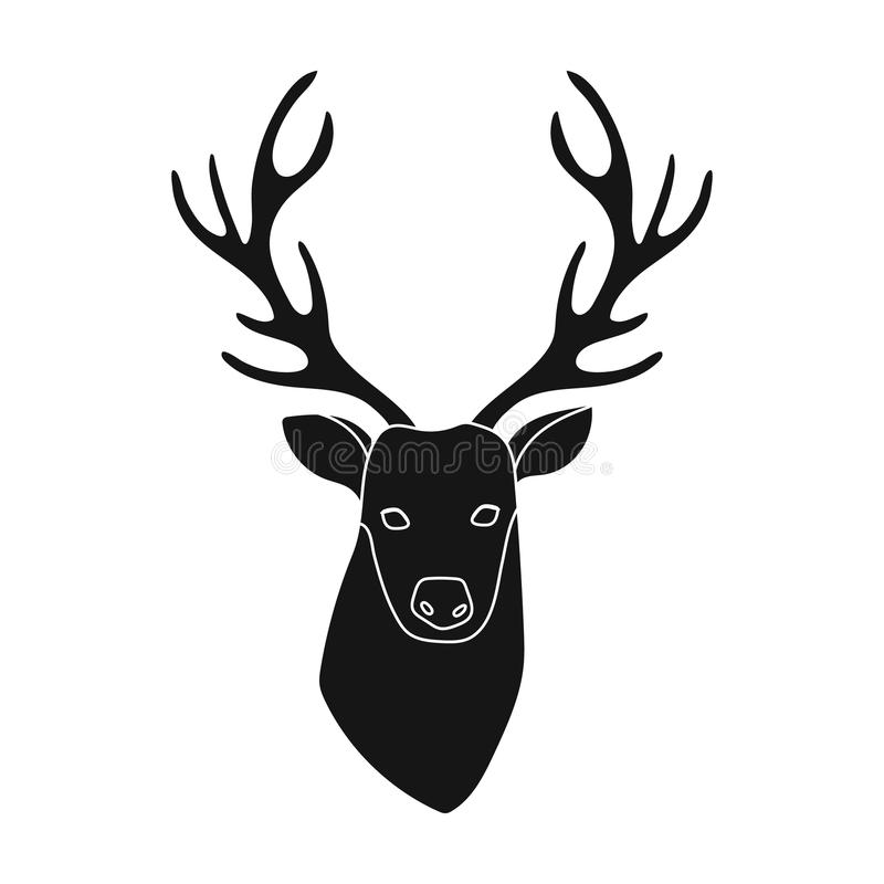 Deer Head Icon In Black Style Isolated On White Background Hipster