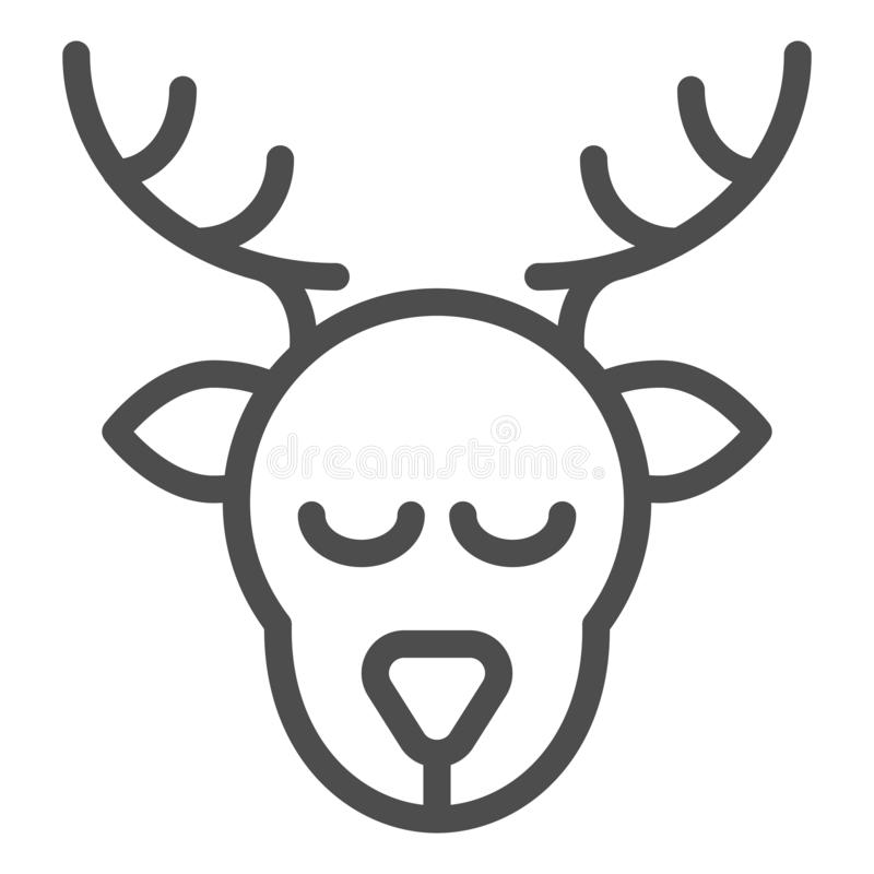 Deer head line icon. Christmas deer vector illustration isolated on white. Moose head outline style design, designed for. Web and app. Eps 10 vector illustration
