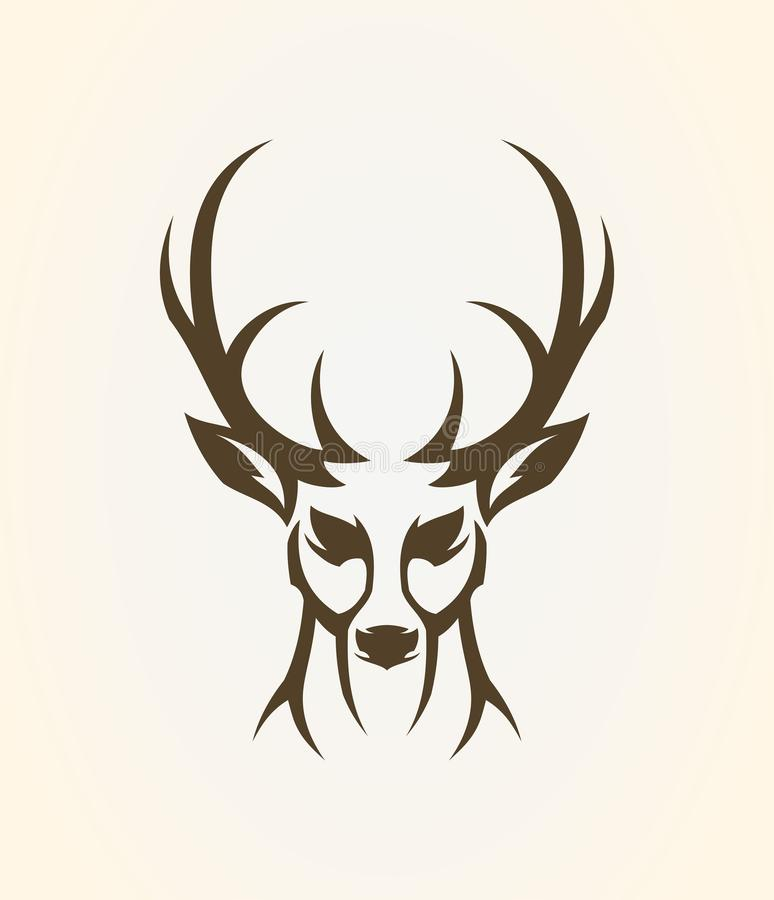 Deer head outline silhouette. Stylized elk icon. Deer head outline silhouette. Stylized elk - front view vector icon stock illustration