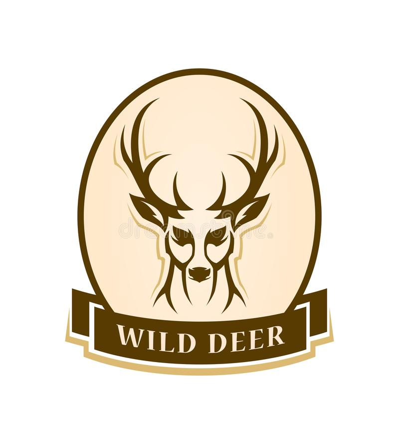 Deer head outline silhouette stylized vector badge. Deer head outline silhouette - stylized vector emblem with changeable text stock illustration