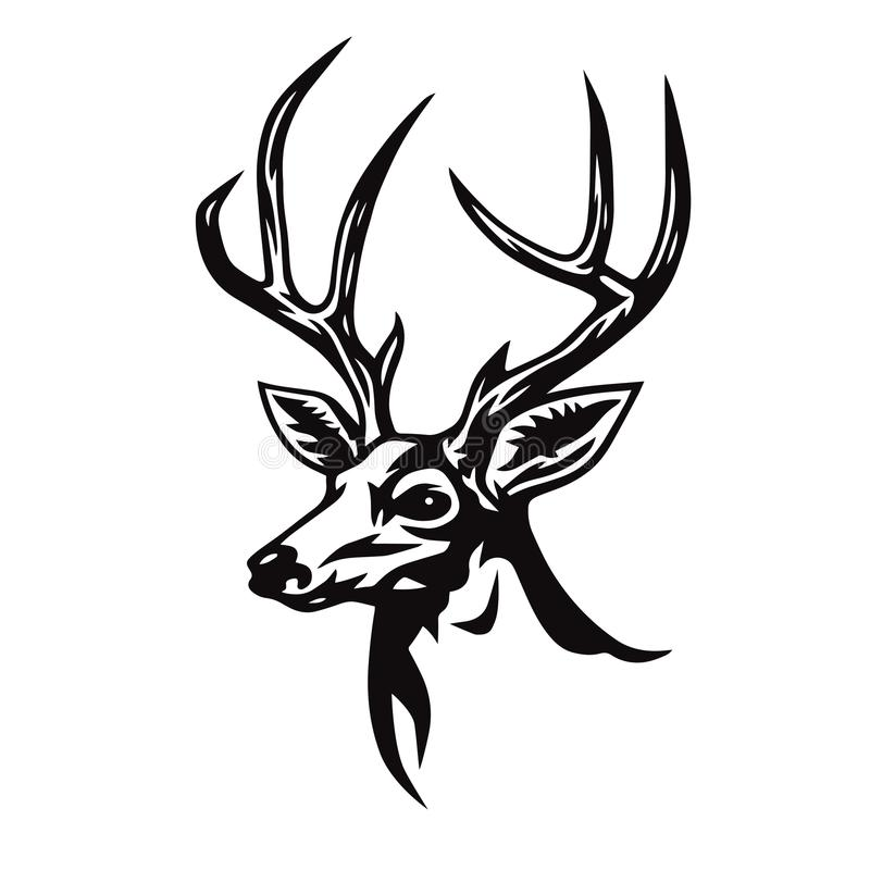 Deer Head Stylized Drawing. Logo Template Vector Illustration royalty free illustration