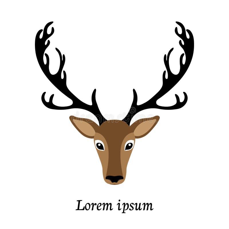 Deer head vector illustration, isolated elk logo royalty free stock photo