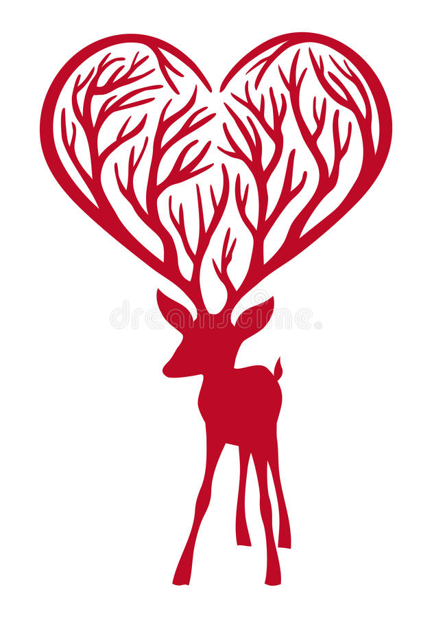 Deer with heart antlers royalty free illustration