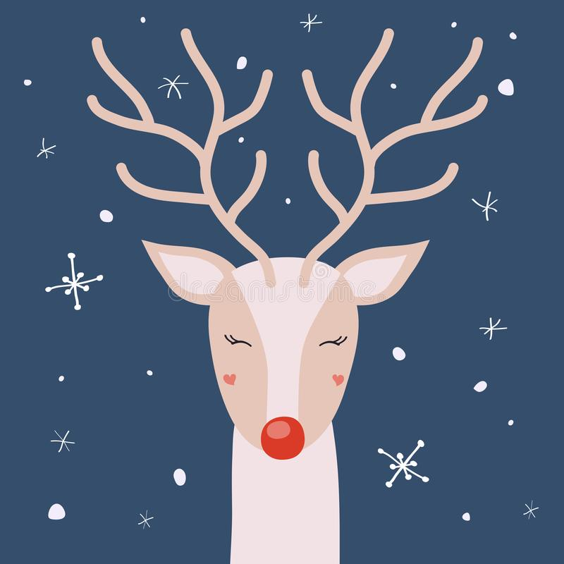 Deer with horns is enjoying the snow, vector Christmas card. Deer with horns enjoying the snow, Christmas winter vector illustration for the design of cards royalty free illustration
