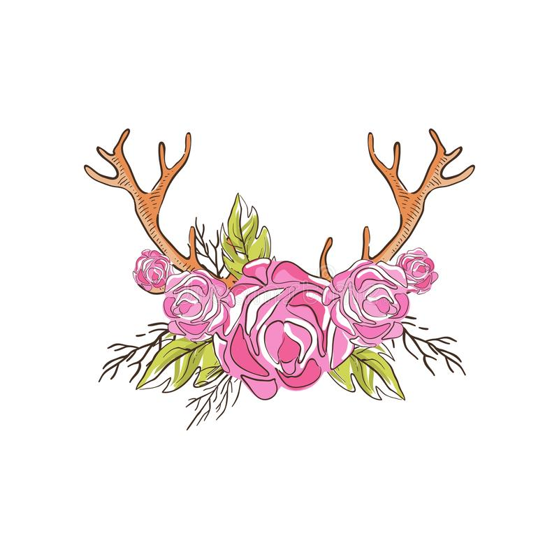 Deer horns with pink rose flowers, hand drawn floral composition with antlers vector Illustration on a white background. Deer horns with pink rose flowers, hand vector illustration