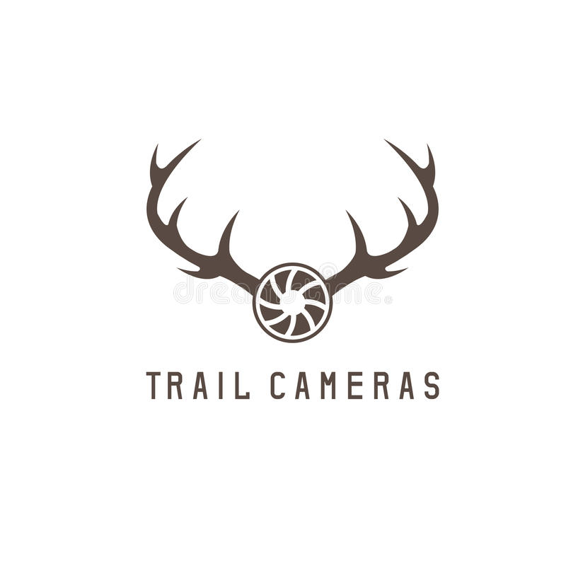 deer horns and trail camera vector design stock vector