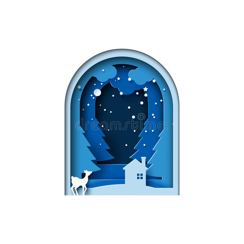 Deer and house on winter forest landscape. Deer and house on night of winter forest landscape for merry christmas and happy new year paper art style.Vector vector illustration