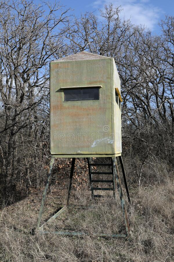 Deer hunting stand in afternoon sunshine with leafless oak trees in background. Deer hunting stand with windows and ladder in afternoon sunshine with leafless stock photo