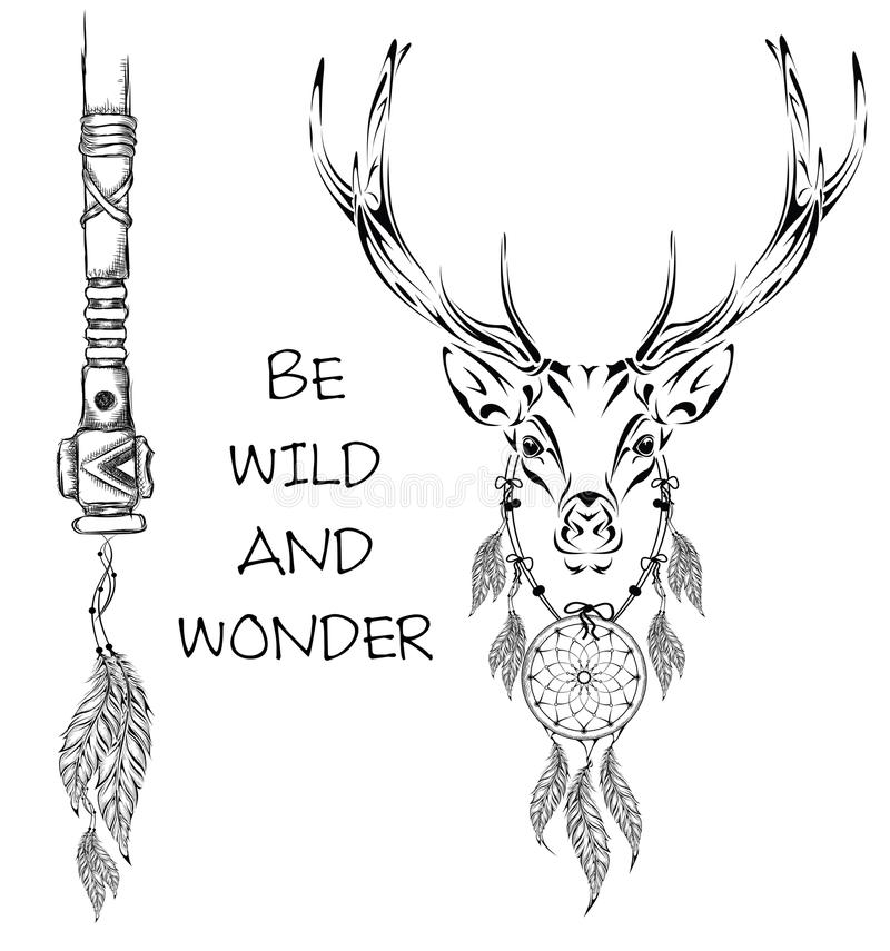 Deer Indian Warrior Animal Hand Drawn Illustration