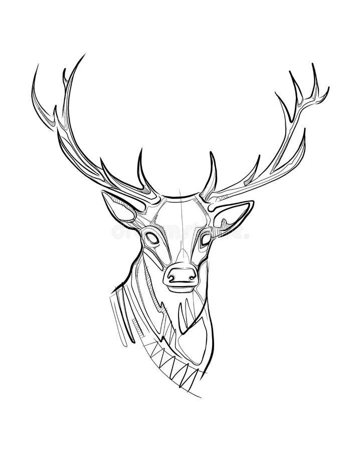 Deer Ink Digital Vector Illustration Stock Vector