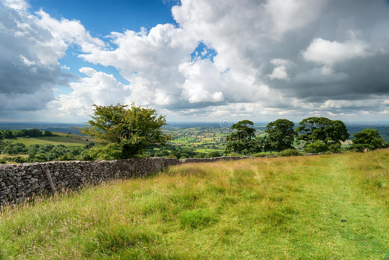 Deer Leap in the Mendips. The view from Deer Leap, a Heritage Reserve in the Mendip Hills an area of outstanding natural beauty in Somseret stock photos