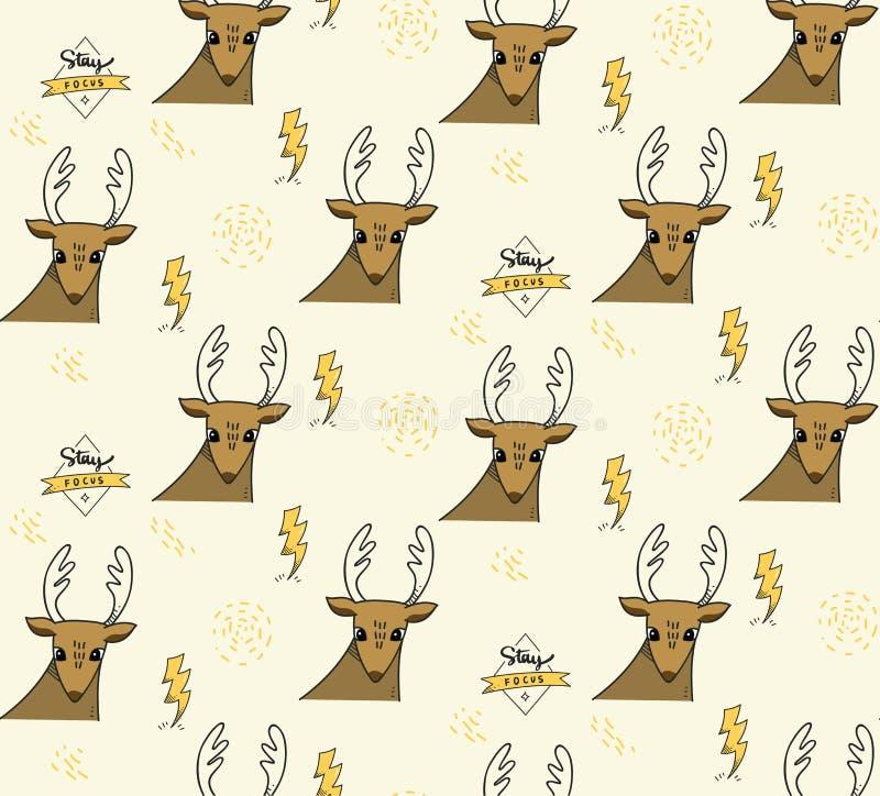 Deer and lighting bolt seamless pattern royalty free illustration