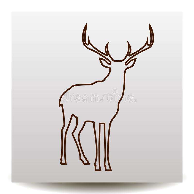 Deer line icon. Deer with big antlers silhouette line icon. illustration on a Flat design style. Suitable for logotype of ecology, defenders of nature royalty free illustration
