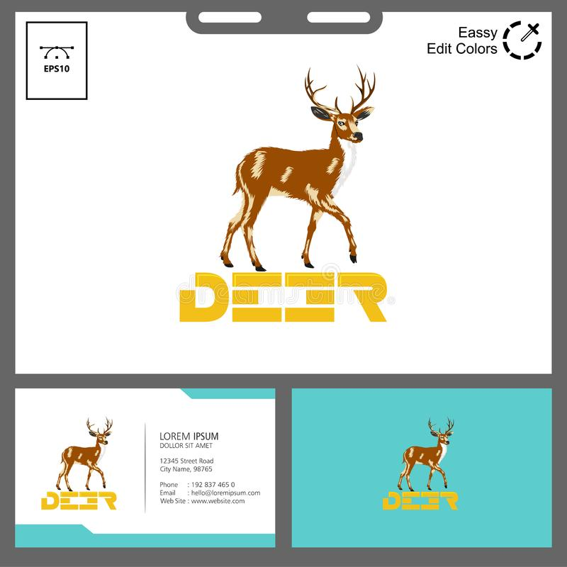 Deer logo reality concept for outdoor event. Logo vector can used in flyer, web, business name,etc stock illustration
