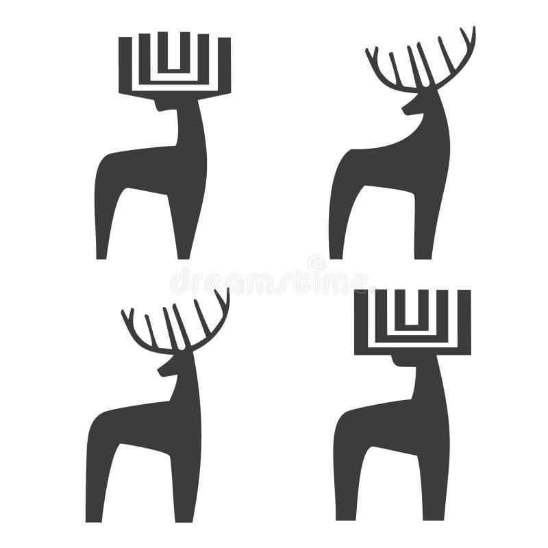 4 deer logotype stock photo