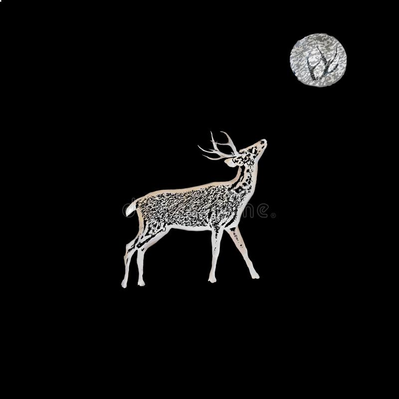 Primal. Deer looking up at moon and sees antlers while humans see a Man on the Moon, playing on the notion that all of God`s creatures look to find their place stock illustration