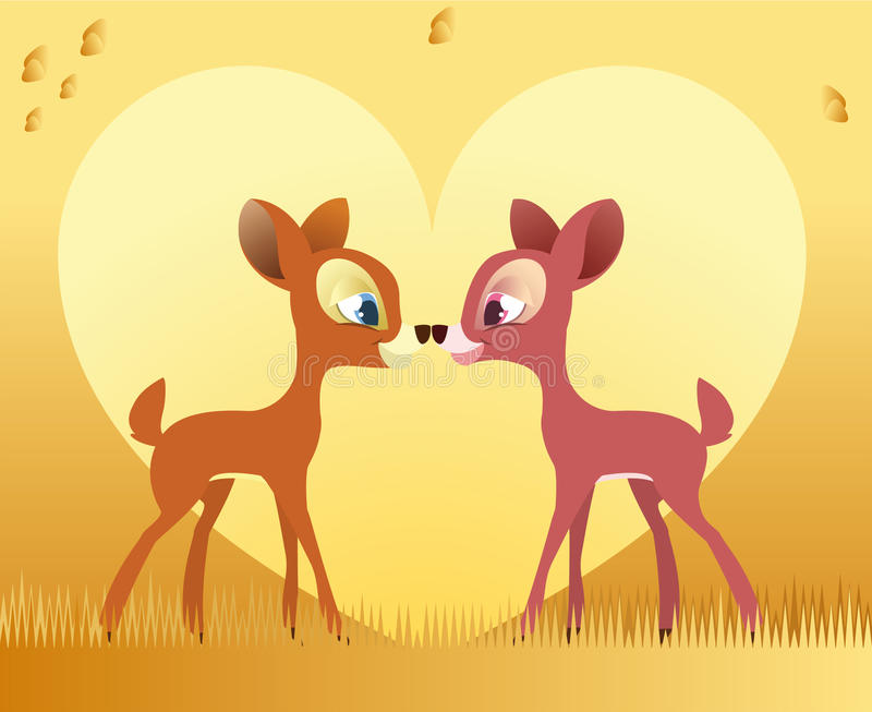 Deer love. Two deer standing touching their noses royalty free illustration