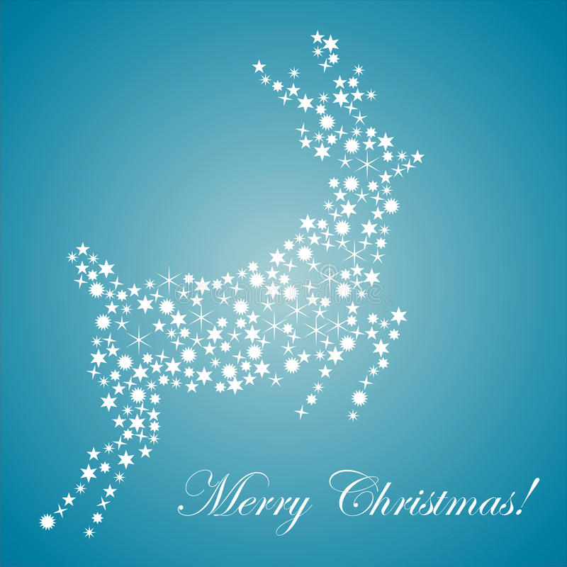 Deer made of stars over blue background stock image