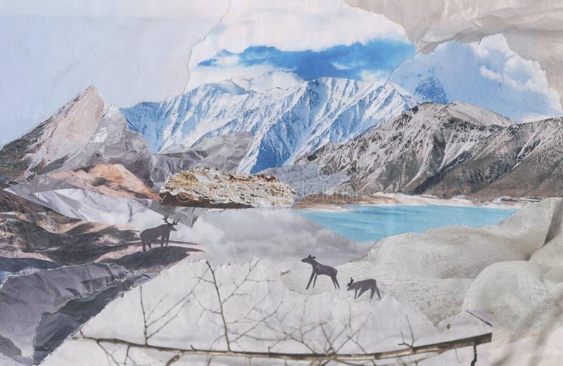 Deer in the mountains, illustration vector illustration