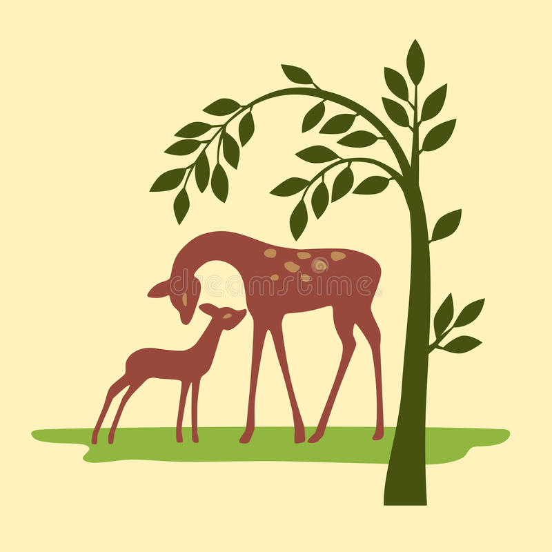 Download Deer on nature stock vector. Image of silhouette, buck - 23978655