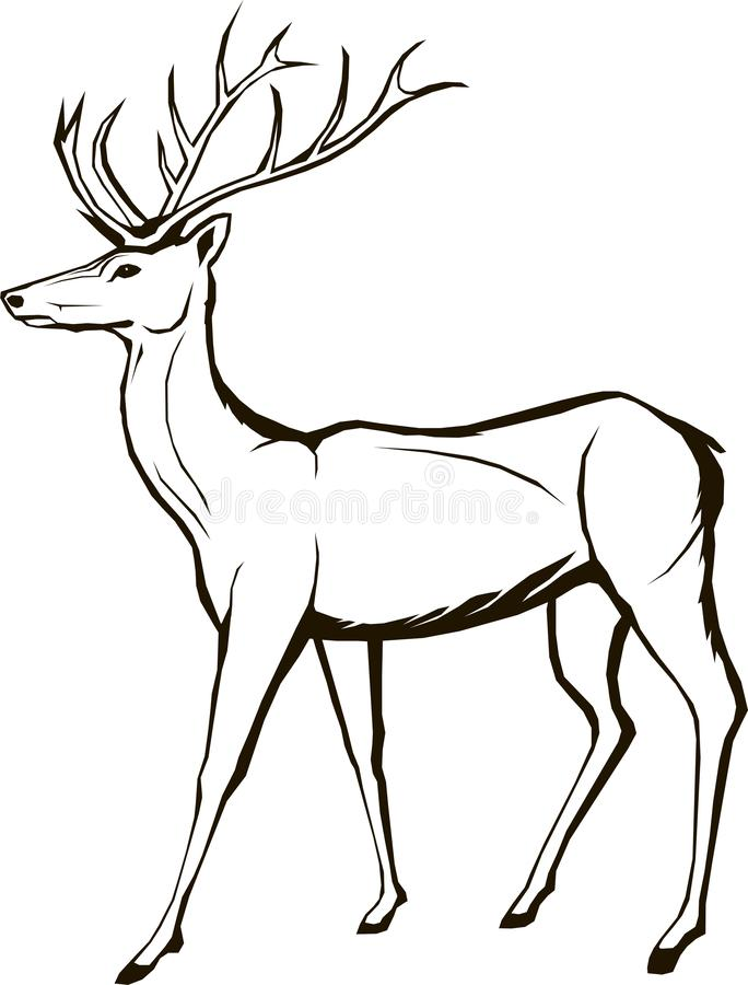 Deer wildlife, animal, christmas, forest, horned, stag, element, royalty free illustration