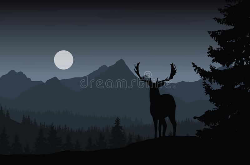 Deer in night landscape with forest and mountains under dark sky royalty free illustration