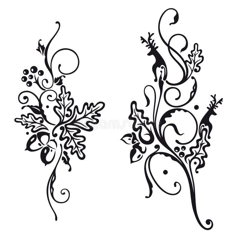 Download Deer and oak leaves stock vector. Image of filigree, graphic - 37568702