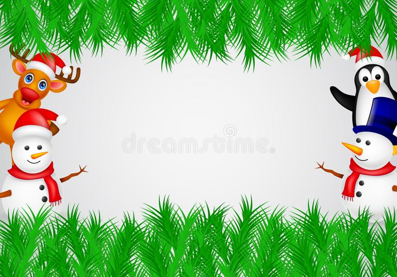 Deer,penguin and snowman with blank sign royalty free illustration