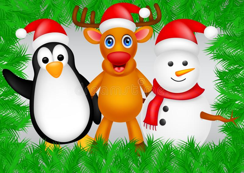 Deer,penguin and snowman christmas. Illustration of deer,penguin and snowman christmas vector illustration