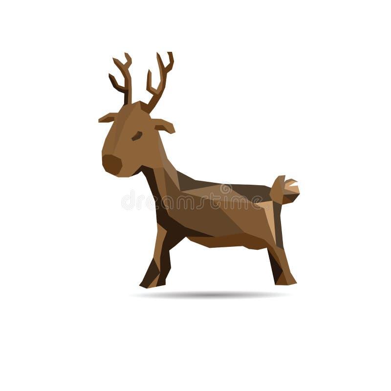 Deer polygon. Animal polygonal deer shape design vector stock illustration