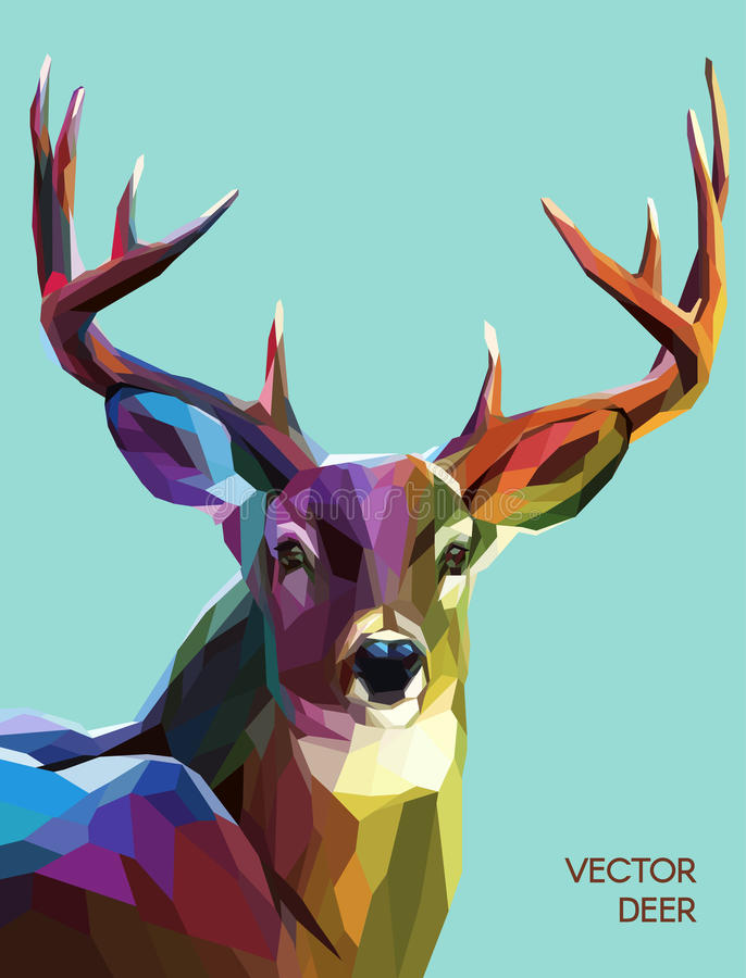 Deer polygonal illustration. Vector eps 10. Colorful deer illustration. Background with wild animal. Low poly deer with horns vector illustration