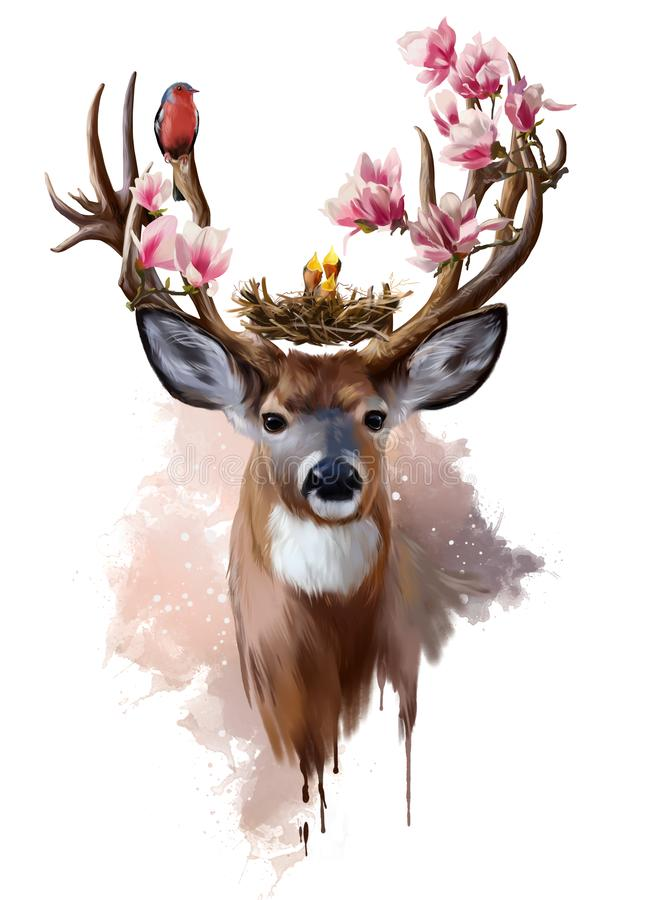 Deer, red-breasted bird and flowers vector illustration