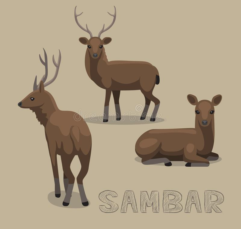 Free Deer Sambar Poses Cartoon Vector Illustration Royalty Free Stock Image - 111721326