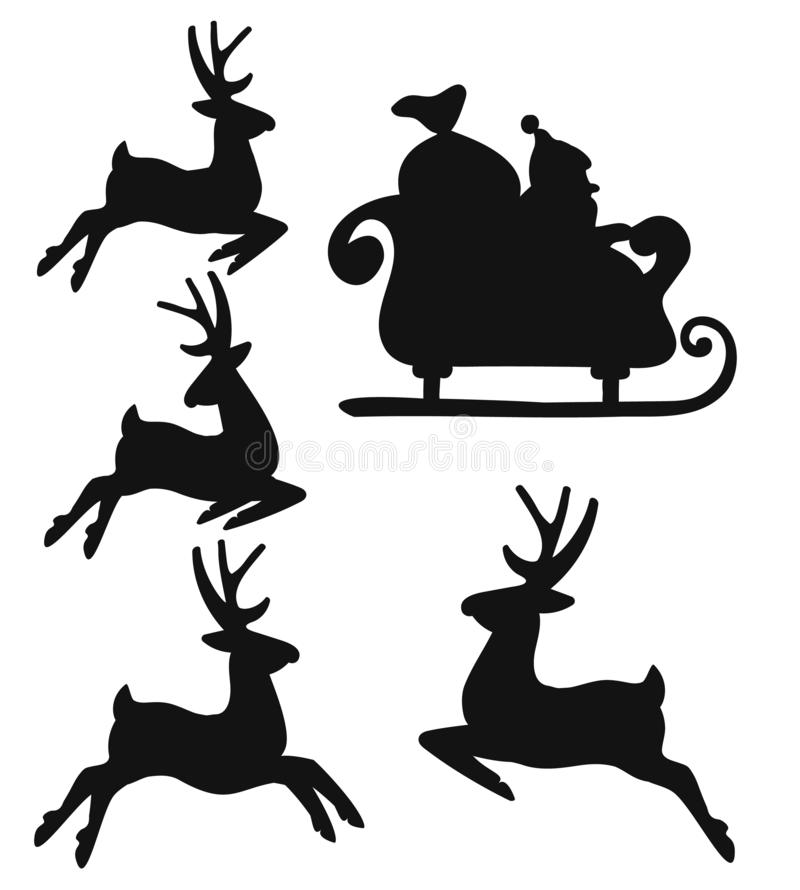 Deer and santa silhouette Christmas or new year. Silhouette of Santa on a sleigh flying with deer and throwing gifts on a white. Vector Illustration, winter stock illustration