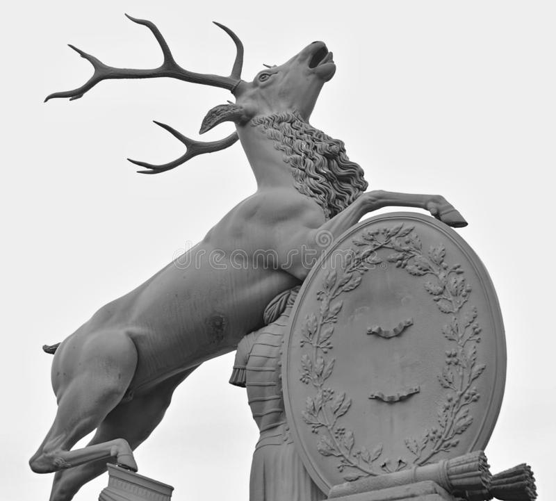 Deer sculpture at the new castle in Stuttgart. In Germany royalty free stock photography