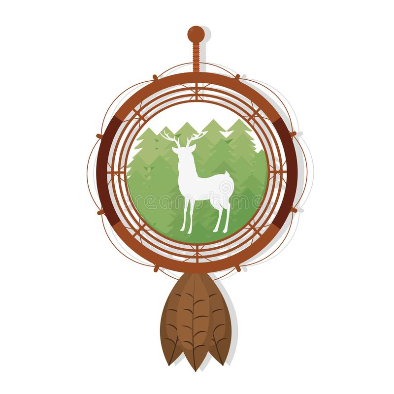 Deer silhouette on dream catcher symbol stock illustration