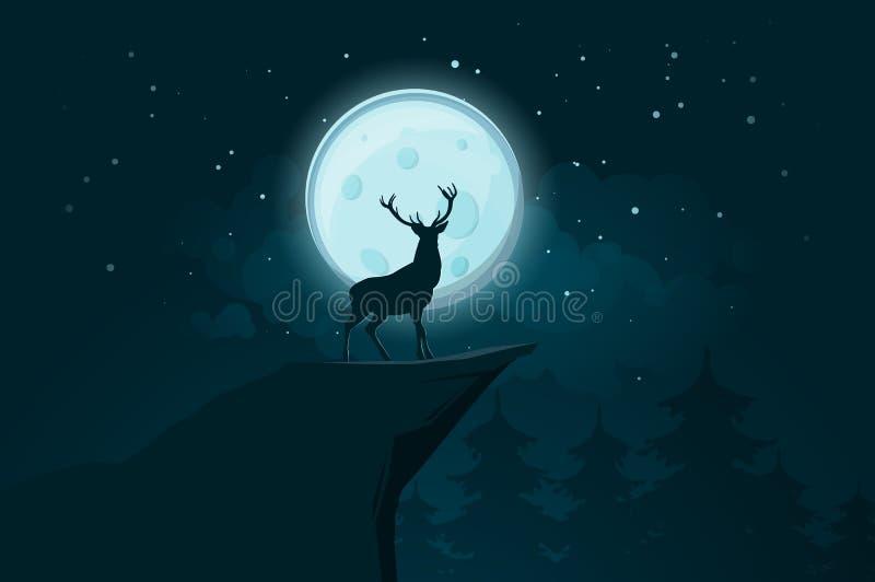 Deer silhouette on the full moon background vector illustration