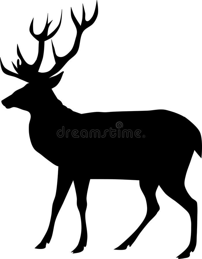 Deer Silhouette. Simple illustration of deer silhouette on white background royalty free illustration