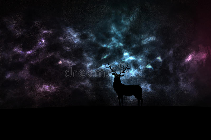 Deer silhouette in space stock photography