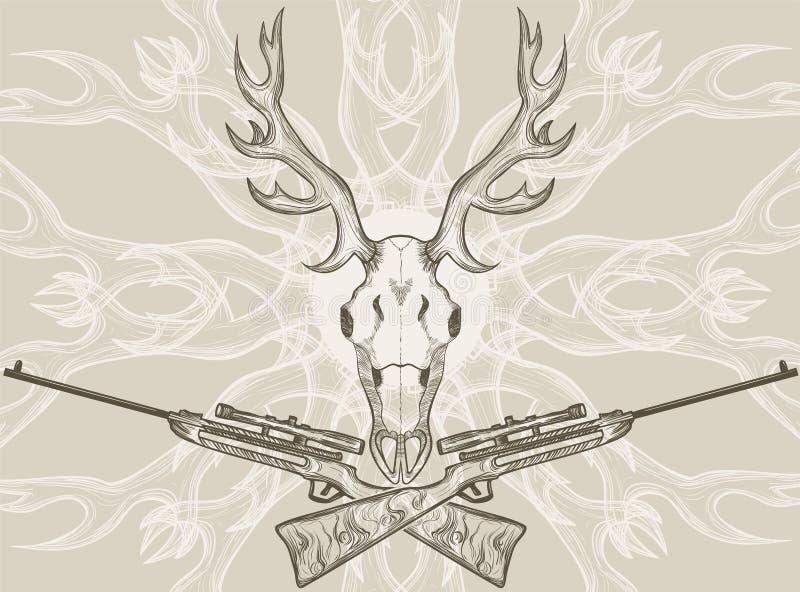 Deer Skull And Crossed Rifles Stock Vector - Illustration of anatomy ...