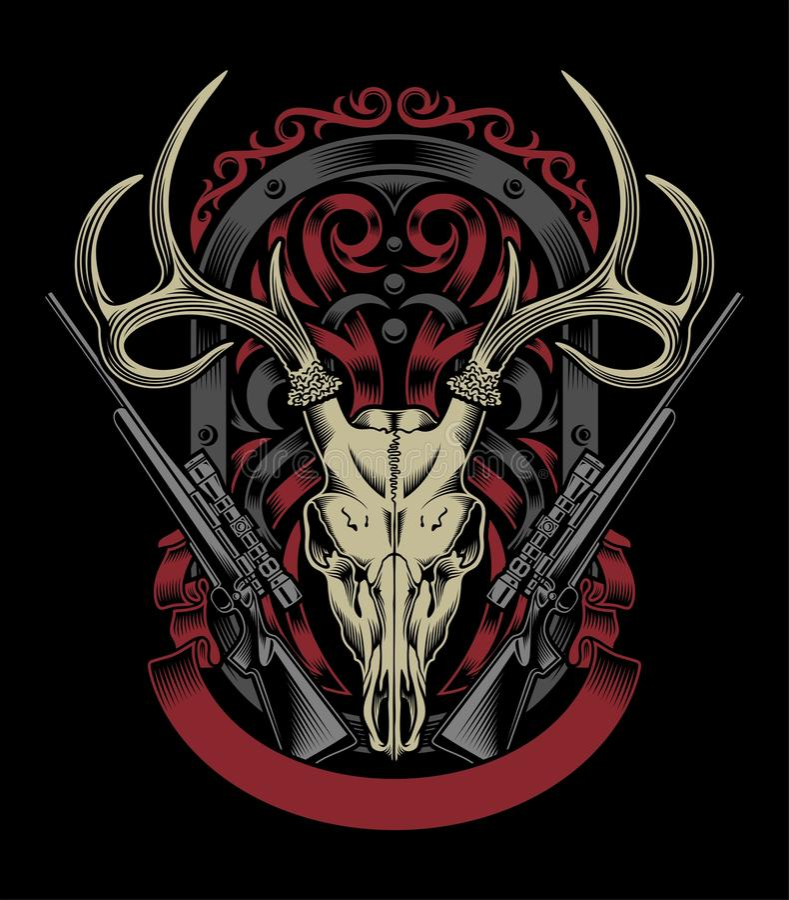 Deer Skull With Rifle vector illustration